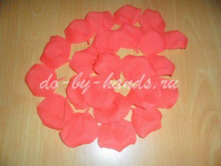цветок роза из гофрированной бумаги