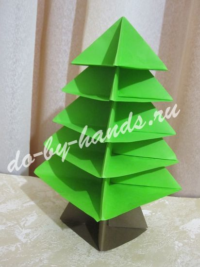 оригами елочка из бумаги