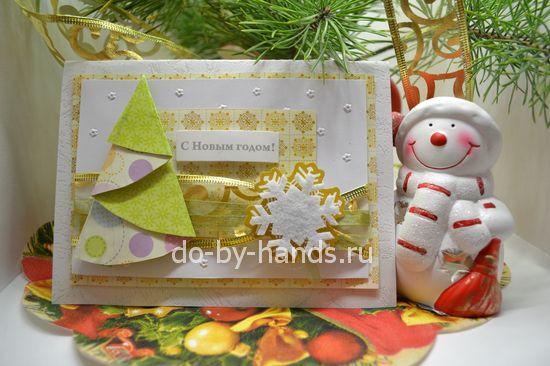 новогодняя открытка скрапбукинг