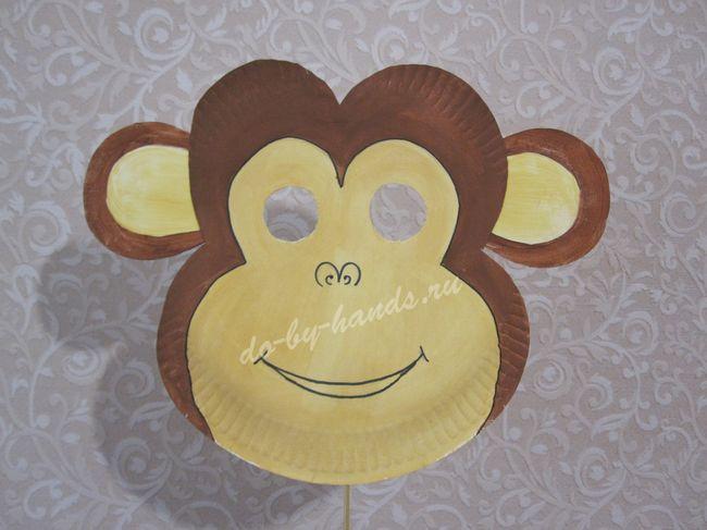маска обезьяны из бумаги