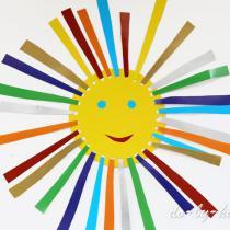 Солнышко из цветной бумаги