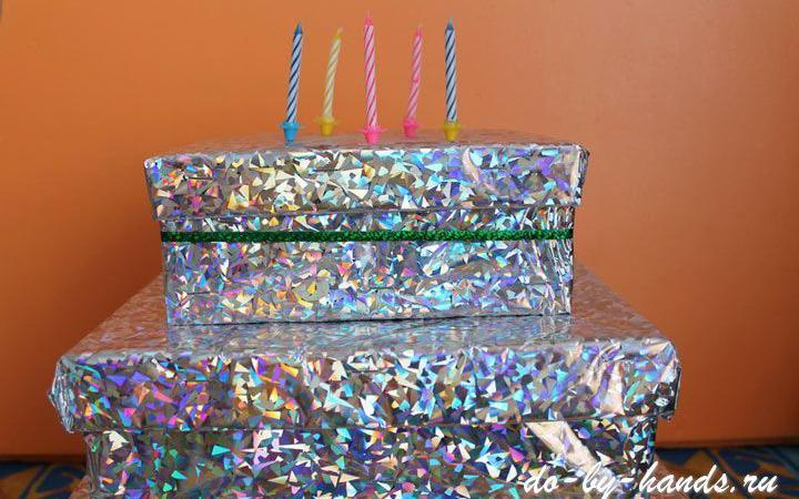 Подарочная коробка «Торт» своими руками