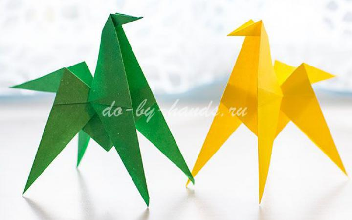 Простая лошадь оригами — схема сборки из бумаги