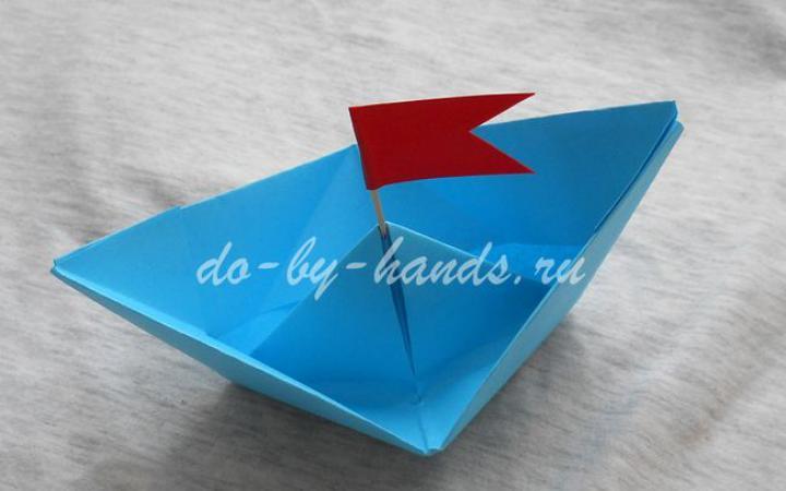 Кораблик оригами из бумаги