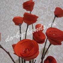 Букет роз из бумаги и веток