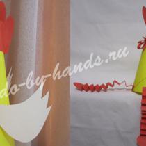 Петушок из бумаги для детей, своими руками