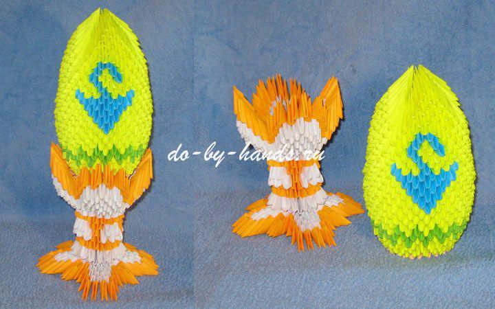 модульное 0ригами пасхальное яйцо на подставке