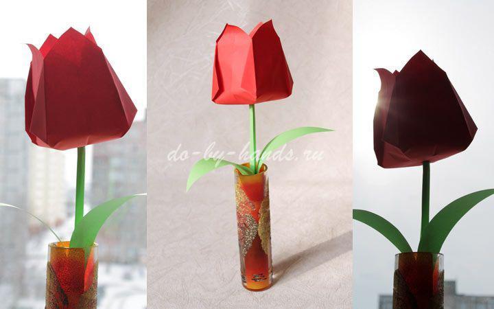 Как сделать цветок из бумаги объемный тюльпан