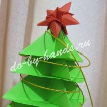 Оригами елочка из бумаги — 3D (объемная)