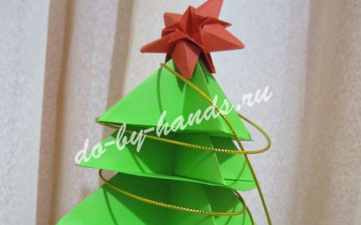 Оригами елочка из бумаги — 3D