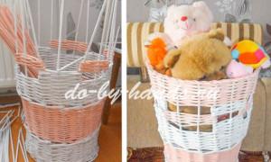 Плетение корзины из газетных трубочек для игрушек