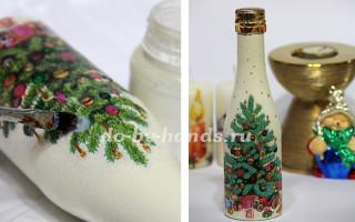 Декупаж: Новогоднее шампанское «Елочка». Мастер класс