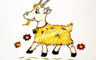 Новогодняя поделка из крупы — коза