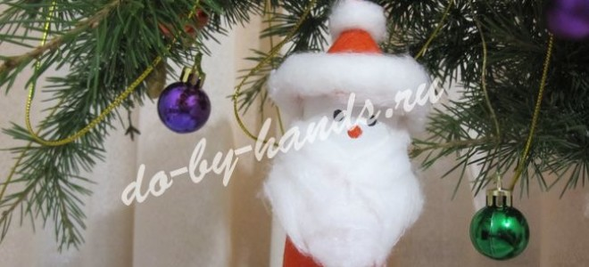 Елочная игрушка «Дед Мороз» из рулона от туалетной бумаги