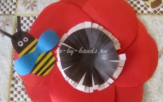 Цветок из цветной бумаги: поделка аппликация для детей