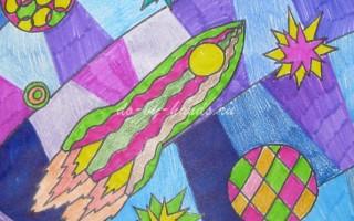 Рисунок на тему космос в технике мозаичного рисования