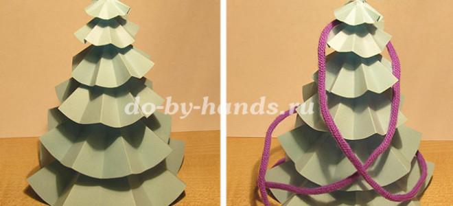 Новогодняя елка из бумаги своими руками — из кругов