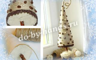 Необычная елка из бумаги, шпагата и кофейных зерен