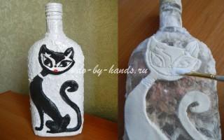Декорирование бутылки своими руками: бумагой и соленым тестом