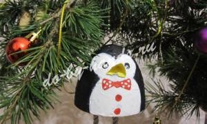 Елочная игрушка «Пингвин» из папье маше