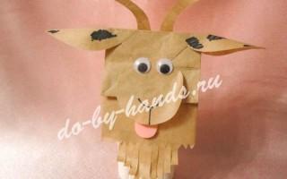 Новогодний пакет «Коза» из бумаги