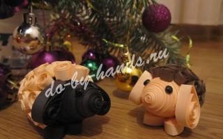 Новогодняя поделка — овечка квиллинг 3d