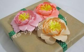 Цветок на подарок своими руками из бумаги, на подарочную коробку