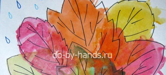 Рисунок осенних листьев ко дню учителя. Техника монотипия для детей