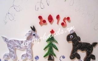 Новогодняя открытка квиллинг с козочкой