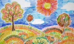Рисунок «Осенний пейзаж»: разноцветные штрихи