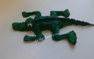 Фигурка крокодила из папье маше