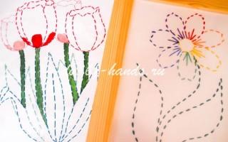Вышивка цветов на бумаге