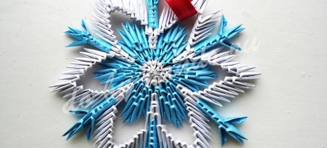 Снежинка, модульное оригами