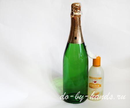 декупаж шампанского к 8 марта