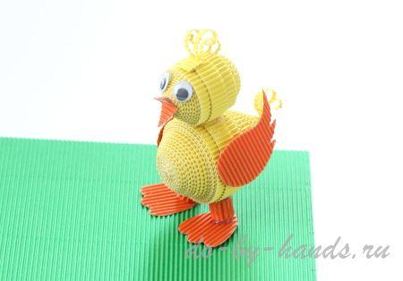цыпленок из гофрированной бумаги