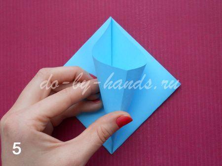 оригами колокольчик из бумаги