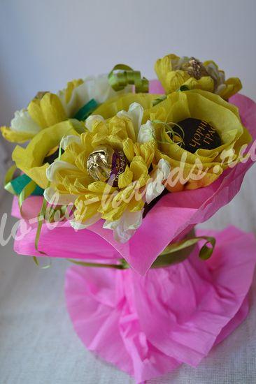"""букет из конфет """"Хризантемы"""" для начинающих"""