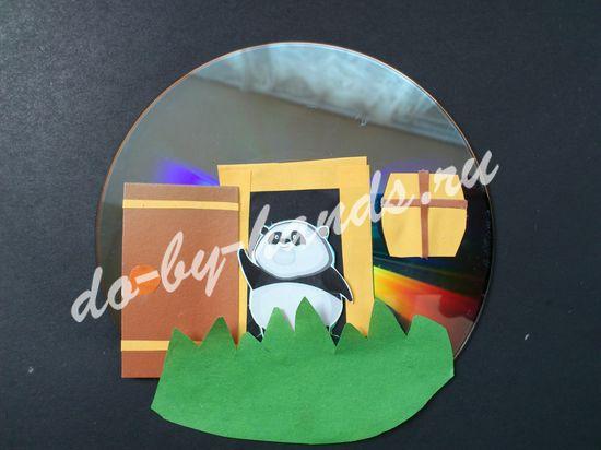 поделка из СД диска, домик