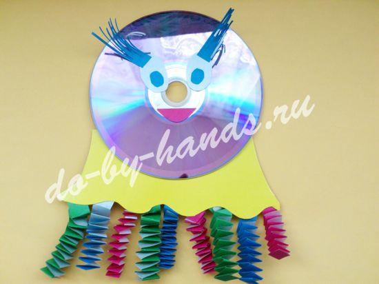 поделка из СД диска, медуза