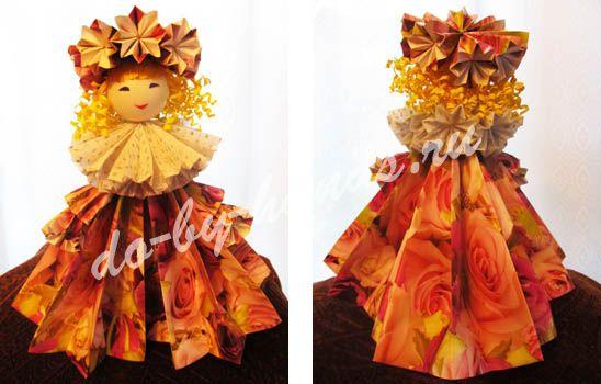 Оригами кукла из бумаги, из модулей - мастер класс