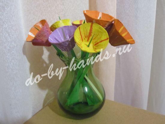 """поделка """"цветы"""" из лотков для яиц"""
