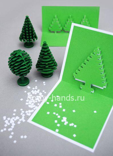 открытка елочка из бумаги